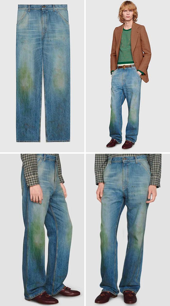 парень в джинсах с зелеными пятнами