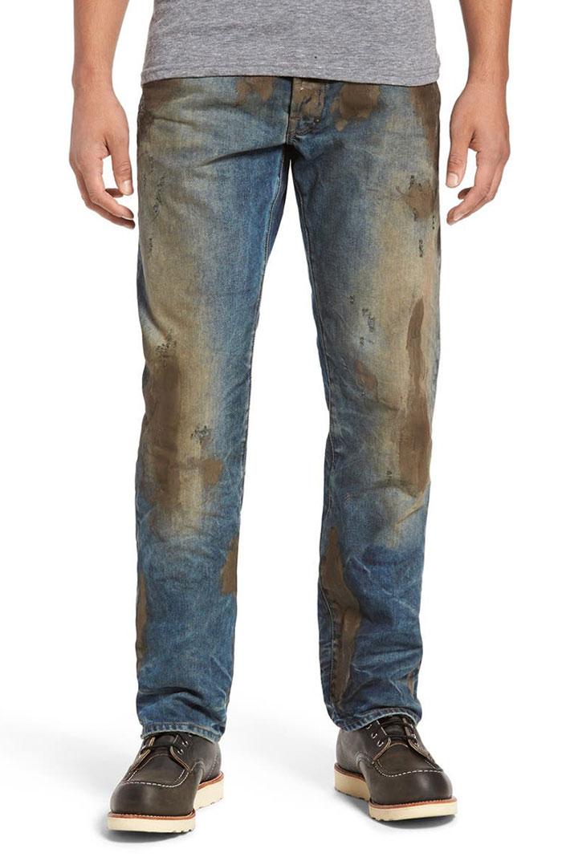 джинсы с пятнами грязи