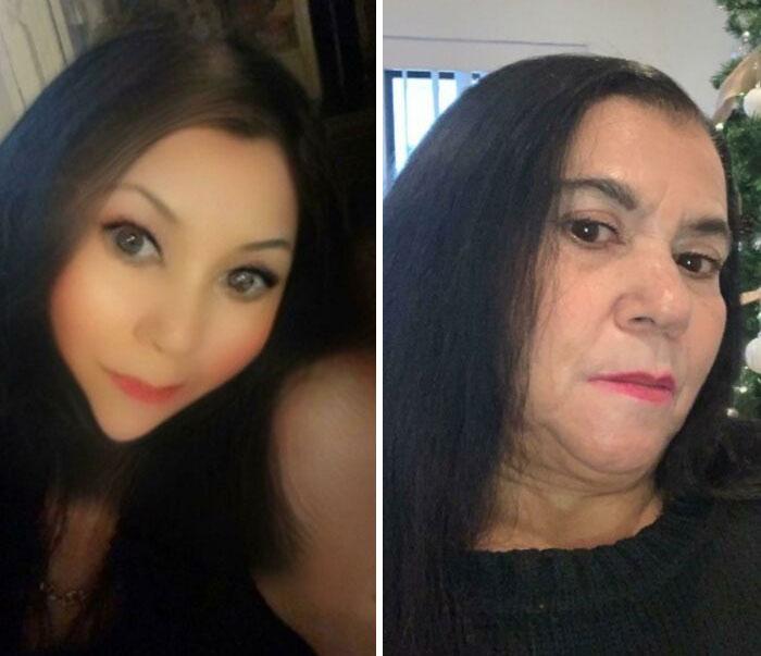 женщина брюнетка с фильтром и без