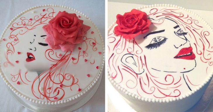 белый торт с портретом девушки