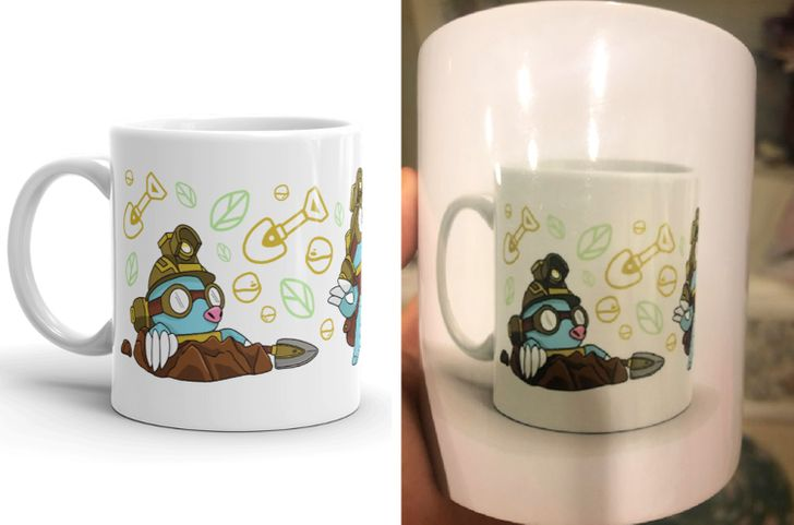 белая чашка с рисунком