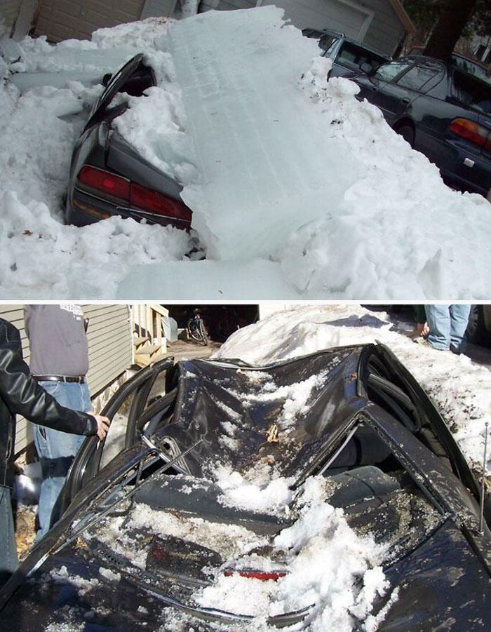 глыба льда раздавила машину