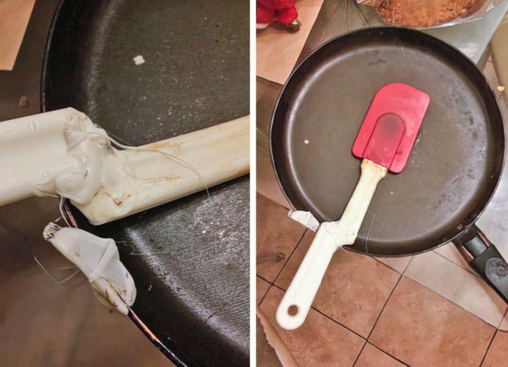 лопатка прилипла к сковороде