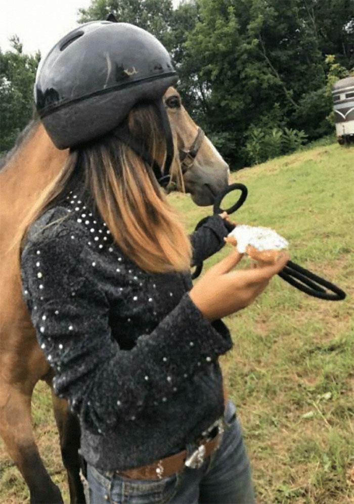 девушка в шлеме и лошадь