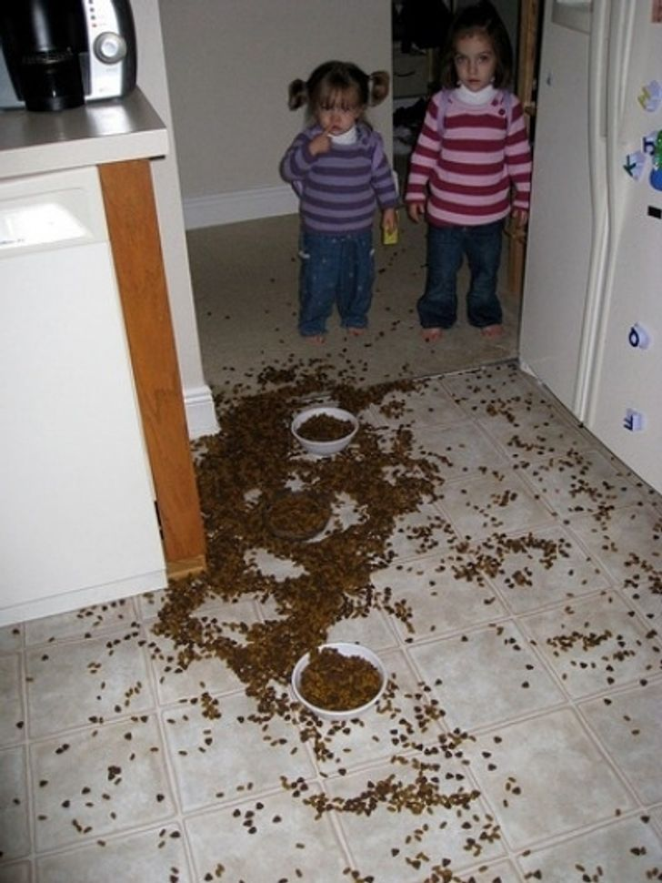две девочки и рассыпанный на полу корм